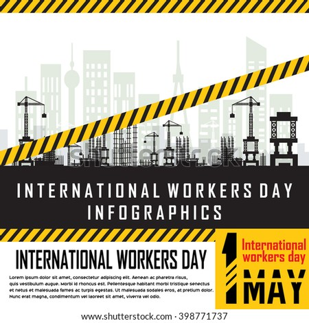 Building under Construction site,Construction infographics,Vector illustration template design,international workers day infomation.