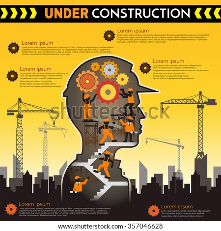 Building under Construction site with workers,Under construction concept,Construction infographics,Vector illustration template design - stock vector
