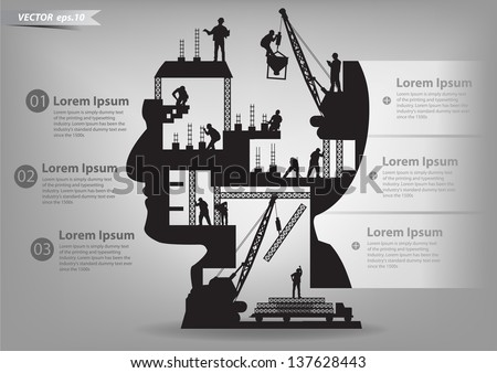 Building under construction with workers in sIlhouette of a head, Vector illustration template design