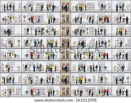 Building with business people in offices  - stock vector