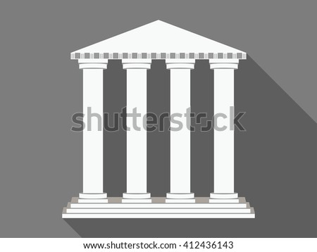 Building with columns. Long shadow. Vector illustration.