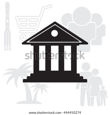 building with columns symbol vector illustration