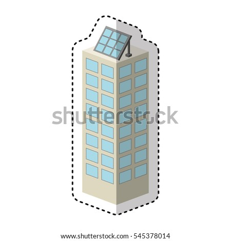 building with panel solar silhouette isolated icon vector illustration design