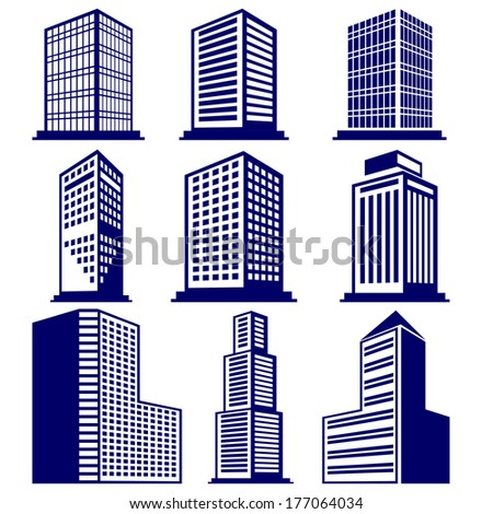 Buildings abstract icon set vector  illustration - stock vector