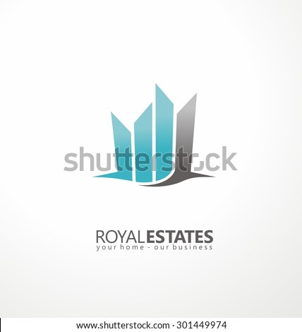 Buildings abstract logo design template. Real estate logotype layout. City skyline makes crown shape. Creative and unique symbol concept.  Residence vector silhouette. - stock vector