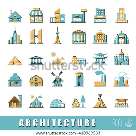 Buildings and architecture icons set.  Various styles and building purposes. Buildings for living and work, monumental buildings. Collection of flat line building and landmark icons.