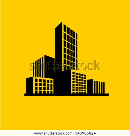 Buildings and City skyline icon vector - stock vector