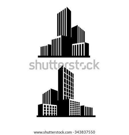 Buildings and  City skyline icons vector  - stock vector