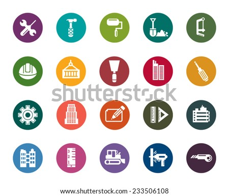 Buildings and Construction Color Icons - stock vector