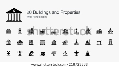 Buildings and Properties Pixel Perfect Icons - stock vector