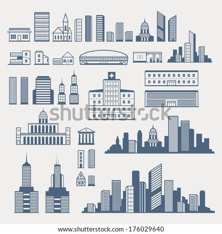 Buildings and structures. Easy to combine and create different city silhouettes. EPS8. - stock vector