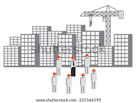 Buildings and workers as civil engineering concept, vector illustration - stock vector