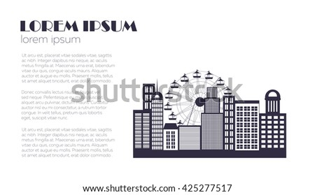 Buildings background. Vector. Logo design. Clean work