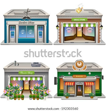 Buildings. Barber shop, Drug store, Flower shop, Bakery. Vector eps 10. - stock vector