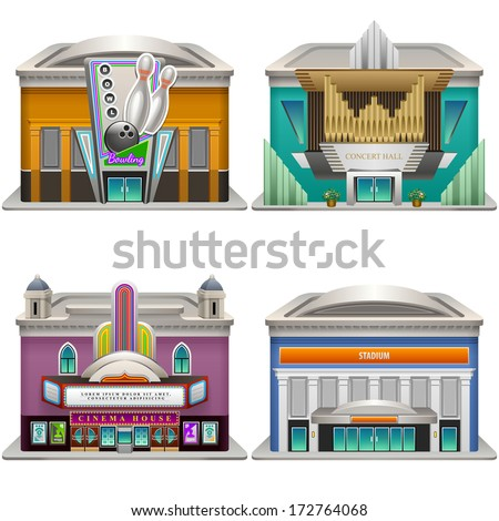 Buildings. Bowling, Concert hall, Cinema house, Stadium. Vector illustration. Eps 10. - stock vector