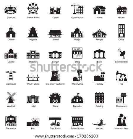 Buildings city icon set - stock vector