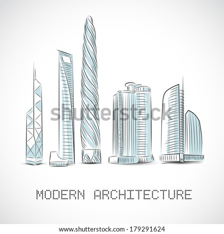 Buildings Collection Of Modern Skyscrapers Isolated Sketch Vector Illustration