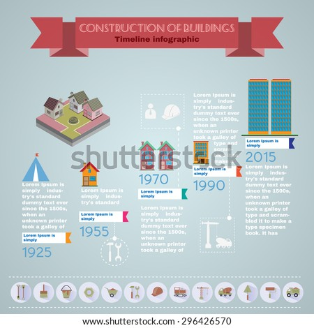Buildings construction infographic vector illustration. Trustworthy real estate company presentation template. - stock vector
