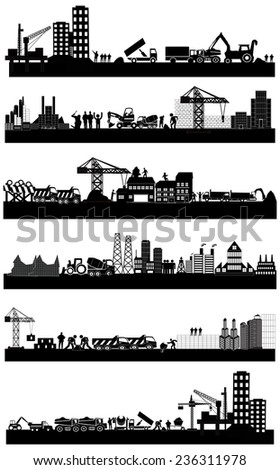 Buildings construction site silhouettes - stock vector