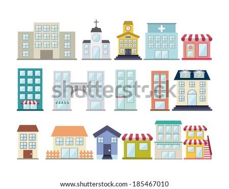 Buildings design over white background, vector illustration - stock vector
