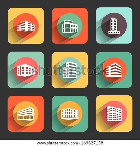 buildings flat design icon set. template elements for web and mobile applications - stock vector