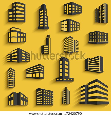 Buildings flat design web icons set with long shadows. template for design. vector illustration - stock vector