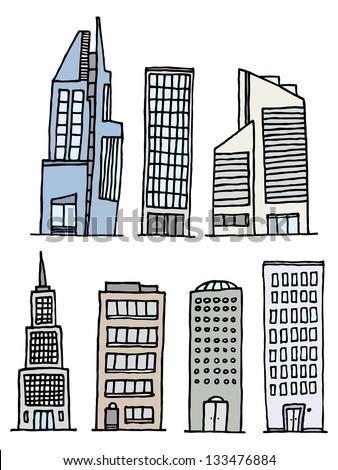 Buildings Handwritten Set / Sketchy Architecture - stock vector