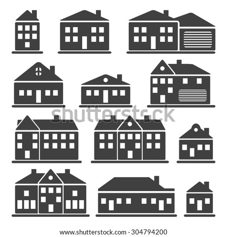 Buildings - house icons set - stock vector