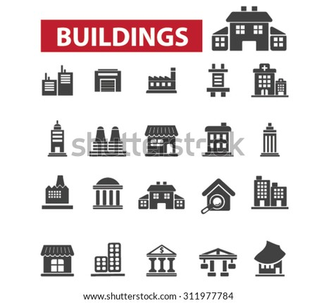 Buildings, houses icons: city,  building construction,  office building,  architecture, office icons,  building logo, administrative building, factory, public house. Vector illustration - stock vector