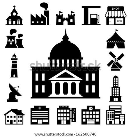 buildings icon set.Illustration EPS10 - stock vector