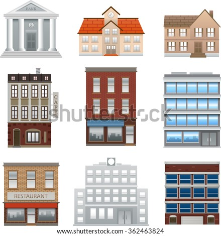 Buildings icons isolated vector on white background - stock vector