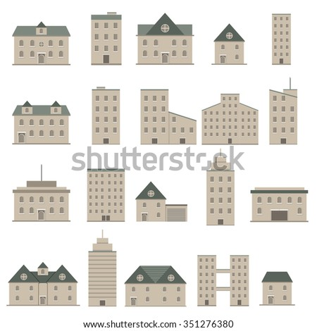 Buildings icons town city set ; vector illustration - stock vector