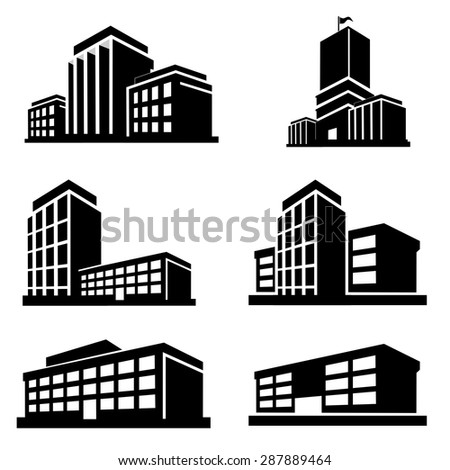 Buildings icons vector - stock vector