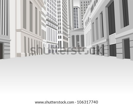 Buildings in downtown financial district in New York city - stock vector