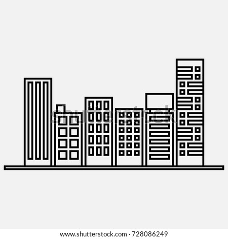 buildings easy drawing outline stock vector 728086249