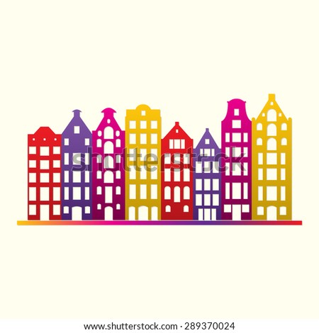 Buildings in old European style. City houses set. Urban landscape symbol. Colorful and bright vector illustration. - stock vector
