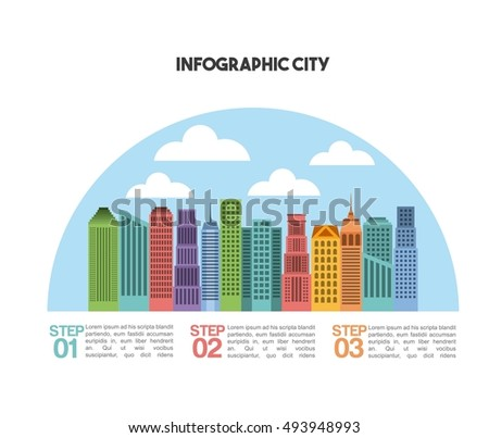 buildings infographic city presentation vector illustration design