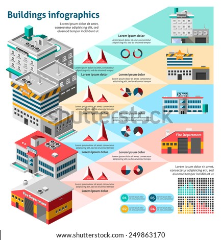 Buildings infographics set with charts and isometric hospital fire station school vector illustration - stock vector