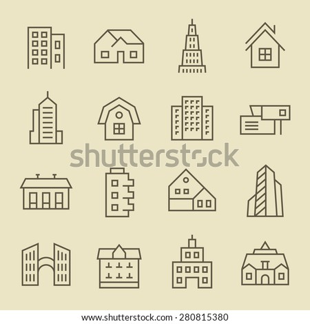Buildings line icon set - stock vector