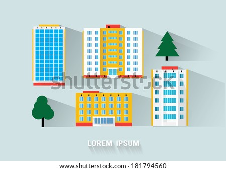 buildings long flat shadow design - stock vector