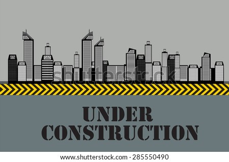 Buildings of the City. Under Construction. Vector Illustration. EPS10