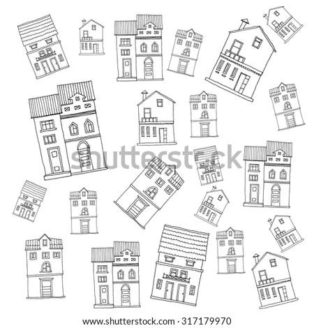 Buildings, skyscrapers, ?hildren black and white - stock vector