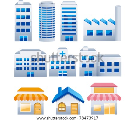 Buildings vector collection - stock vector
