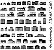 Buildings vector icons set - stock photo