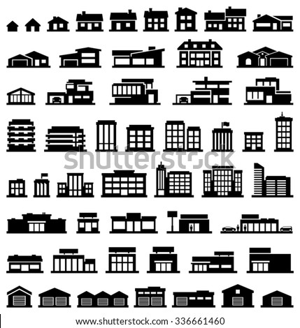 Buildings vector icons set - stock vector