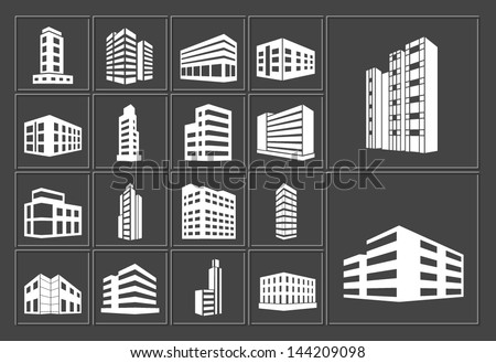Buildings vector white web icons set on dark background - stock vector