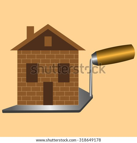 built a new house made of brick standing on tool trowel - stock vector