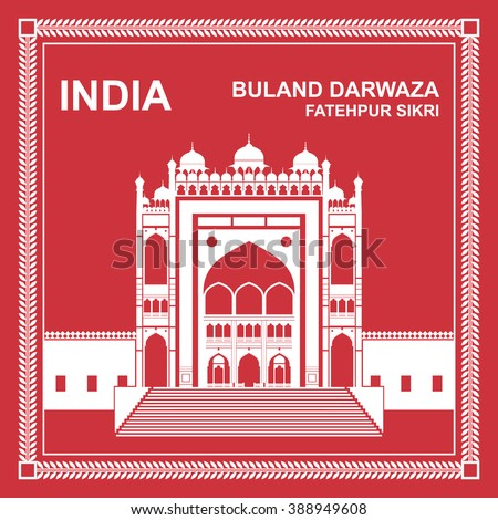 Buland Darwaza, Fatehpur Sikri, India - stock vector