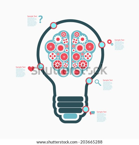 Bulb Brain infographics design.  eps10 vector - stock vector
