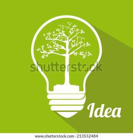 Bulb design over green background,vector illustration - stock vector